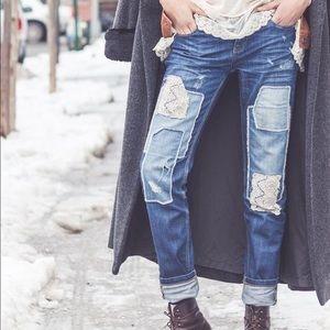 Free People Boho Patchwork Lace Skinny Denim Jeans